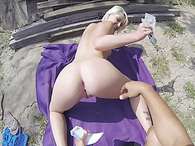 Good looking blonde girl Dani Desire gets fucked in a public place